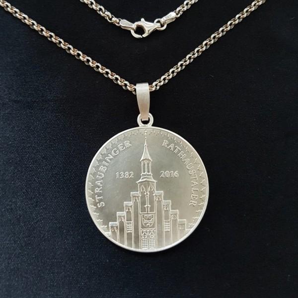 Straubinger Rathaustaler Schmuck-Anhänger Silber mit Silberkette
